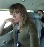 Charlotta on the plane