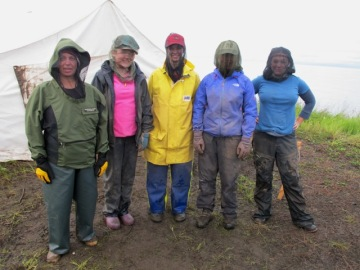 The bug squad – ready for another calm day on the tundra.  Cheryl, Ella, Celeste, Lindsey, Jessie