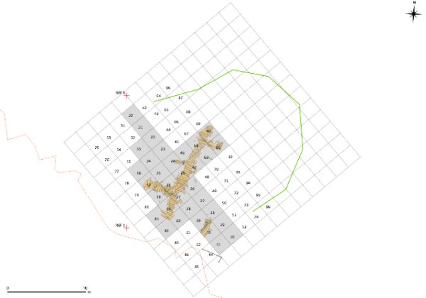 Nunalleq site grid - the grey areas are the squares excavated in 2012